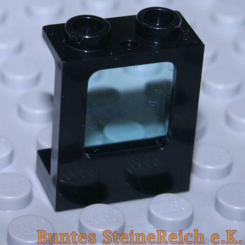 SK21 4 Stück schwarze Schiffs Flugzeug Fenster 1x2x2 /& Scheibe transparent blau