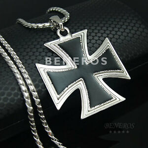 Large knight templar iron cross pendant necklace silver plated men image is loading large knight templar iron cross pendant necklace silver mozeypictures Image collections