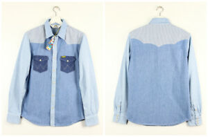 NEW-MEN-039-S-WRANGLER-by-PETER-MAX-SLIM-WESTERN-DENIM-SHIRT-LIGHT-VINTAGE-S-M-L-XL
