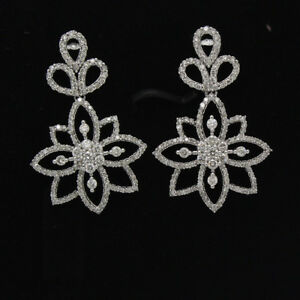 2-16-Ct-Round-Cut-White-Natural-Diamond-14k-White-Gold-Drop-Dangle-Earrings