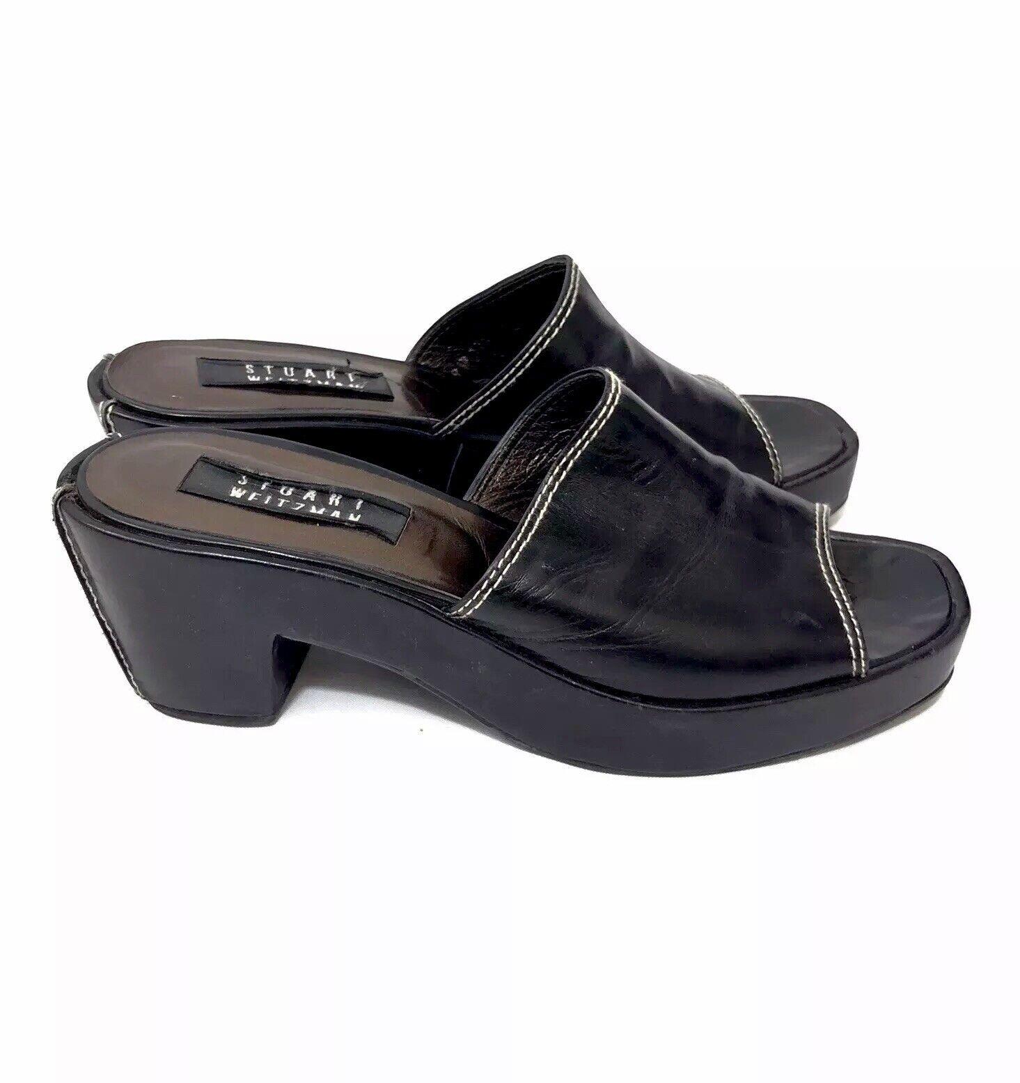 STUART WEITZMAN Black Leather Slide Sandals Platform Heels Sz 7 N Ivory Stitch