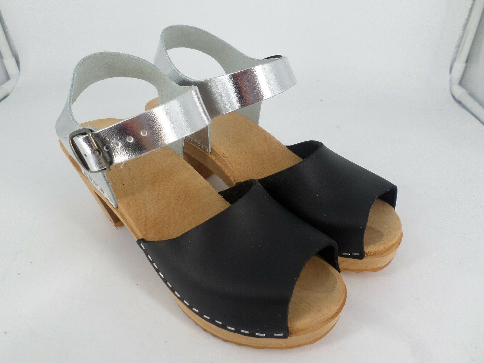 Ladies Leather Peep Toe Clog Sandals UK 8 EU 42 LN26 18 SALEs
