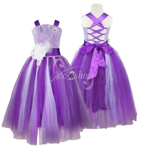 Flower Girl Wedding Bridesmaid Communion Pageant Dress Kid Party Prom Ball Gown