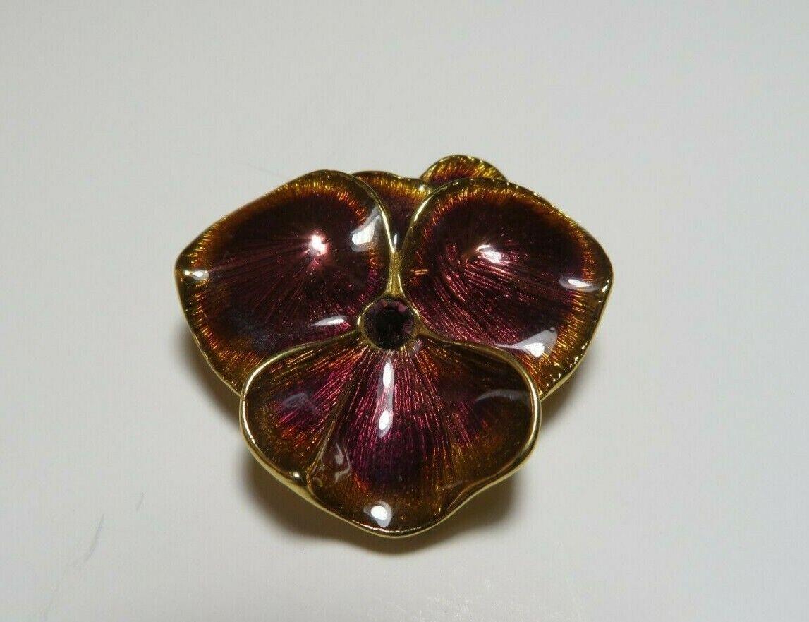 Joan Rivers Enamel Gold & Purple Pansy Flower Bro… - image 1