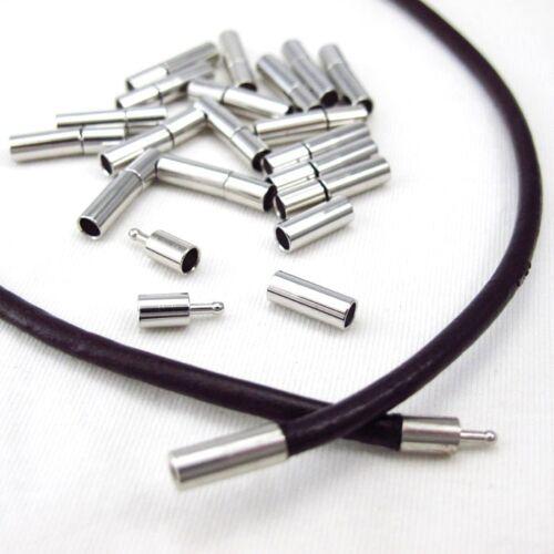6 X Tono Plata no alergia Estaño Broches conector 20x4mm para 3 mm Cordón de Cuero