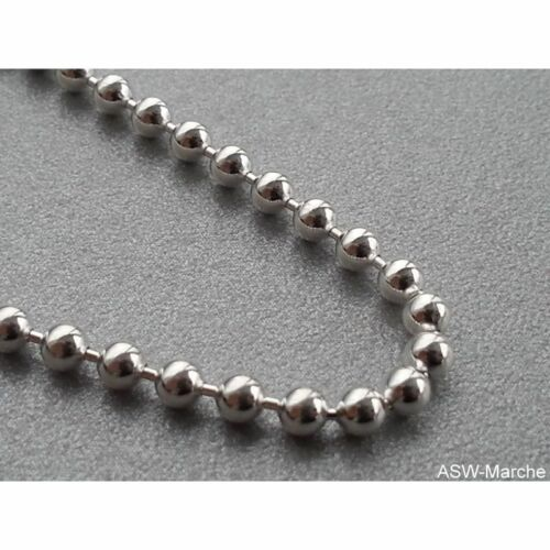 Kugelkette ECHT 925 Silber Sterling Kugel Kette Halskette elegant rhodiniert