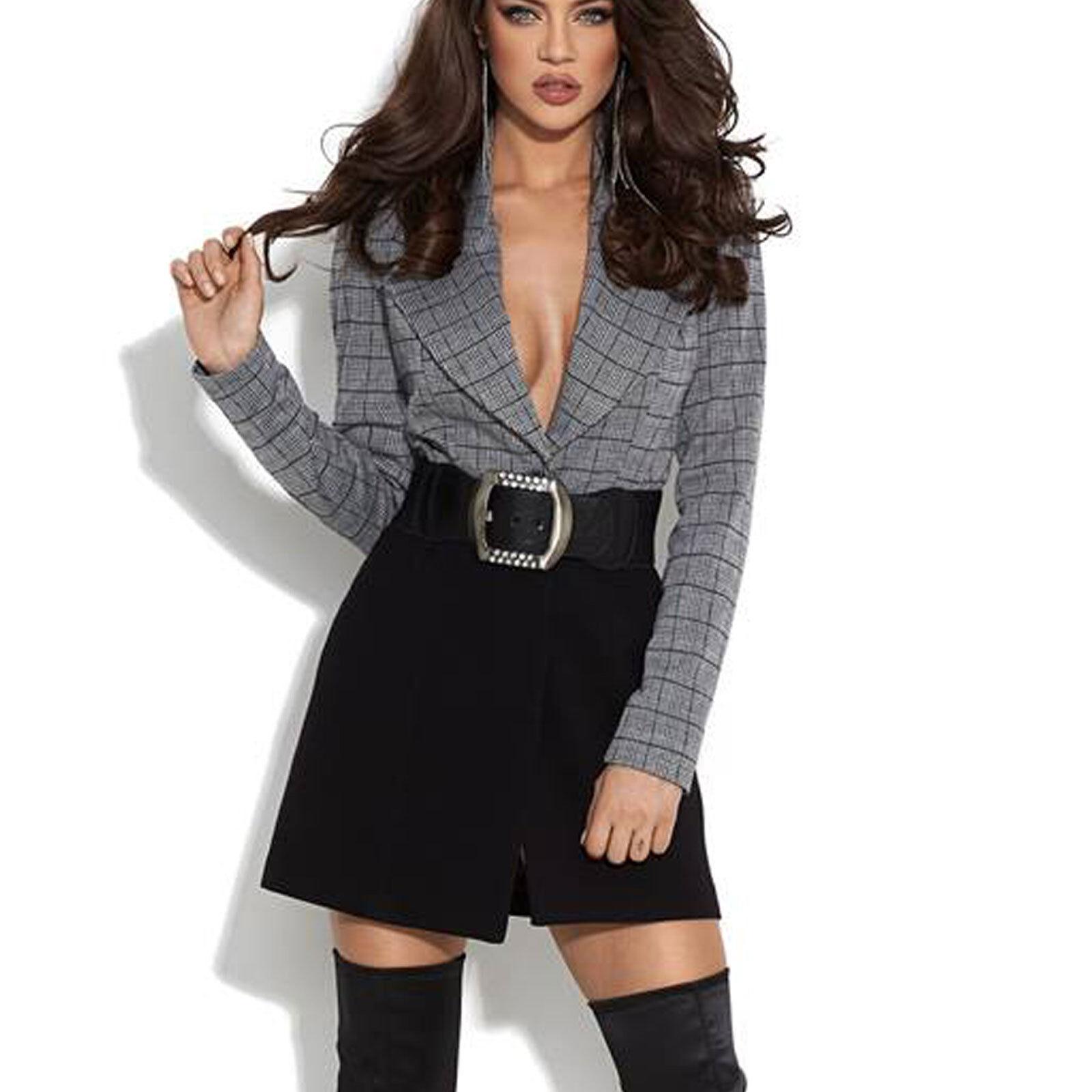 BY ALINA Damen Jacke Longblazer Blazer Blazerkleid Minikleid+Gürtel XS-M