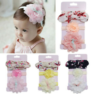 Baby & Toddler Clothing 3Pcs Kid Elastic Floral Headband Pearl Hair Girl Child Baby Bowknot Hairband Set