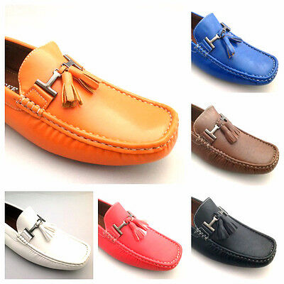 New Mens Leather Look Loafers Moccasins Casual Slip On Driving Shoes Size 6 - 11