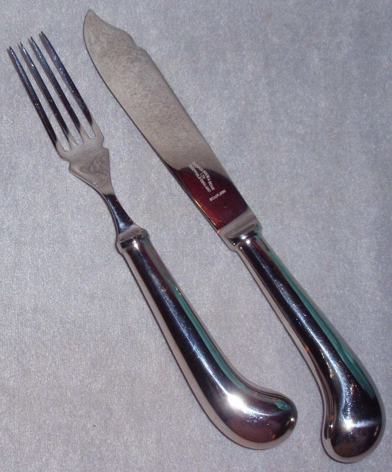 Nouveau Cooper Bros brillant en acier inoxydable Queen Motif Anne poisson fourchette couteau Set 2