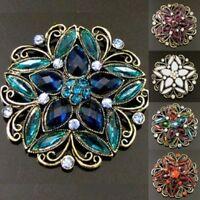 ADD'L Item FREE Shipping - Antiqued Rhinestone Crystal Flower Brooch Pin