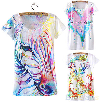 Women Fashion Summer Short Sleeve Horse Graphic Printed T Shirt Tee Blouse Tops