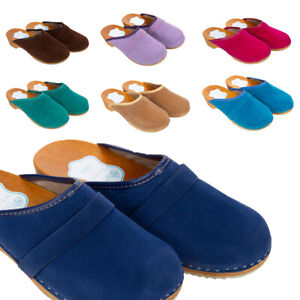 2557e1418f4 Details about Womens Suede Clogs 100% Natural Leather Hand Made Shoes  Wooden Sole 3-8 UK D1