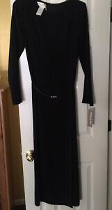 NWT-Jones-New-York-Dress-Black-Long-Sleeve-Belt-Waist-Dress-Slit-Size-8