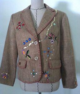 Brown New Focus burlap Embroid Women Embellish Sz 2000 Stone floreale Blazer 14 FTpfYTqnw