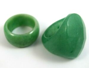 Lot of 2 Vintage Green Stone Rings Jade ? Jadeite ? Size 8 and 9.25