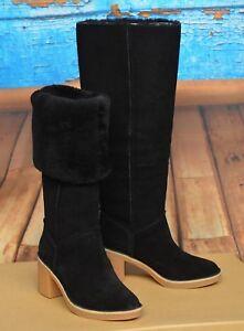 d03c9448384 NIB UGG KASEN TALL Sz 5.5 Black Block Heel Sheepskin Wool 2 Way Cuff ...