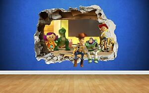 Toy-story-smashed-mur-3D-style-autocollant-chambre-garcons-vinyle-wall-art