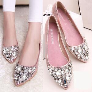 Womens-Ladies-Flat-Heel-Rhinestone-Crystal-Sequins-Pointy-Toe-Pumps-Sandal-Shoes