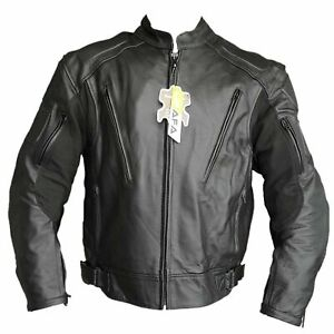 Men-Motorcycle-Jacket-Cowhide-Leather-Genuine-Biker-Riders-Black-Jackets-Top-AUS