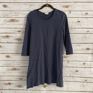Garnet Hill Women's Blue Stripe Tencel 3/4 Sleeve Dress Size Small