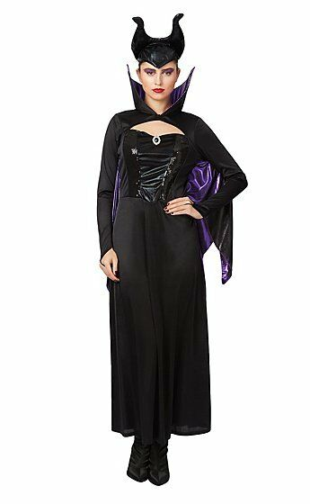Women S Complete Outfit Maleficent Halloween Fancy Dress Costume Uk Size 12 14