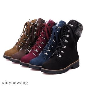 Womens-Lace-up-Fur-Trim-Round-toe-Ankle-Boots-Combat-Punk-Shoes-Block-Heel-Size