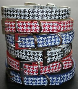 Dog-Pet-Puppy-Collars-Houndstooth-Design-Red-Black-amp-Blue-Length-36cm