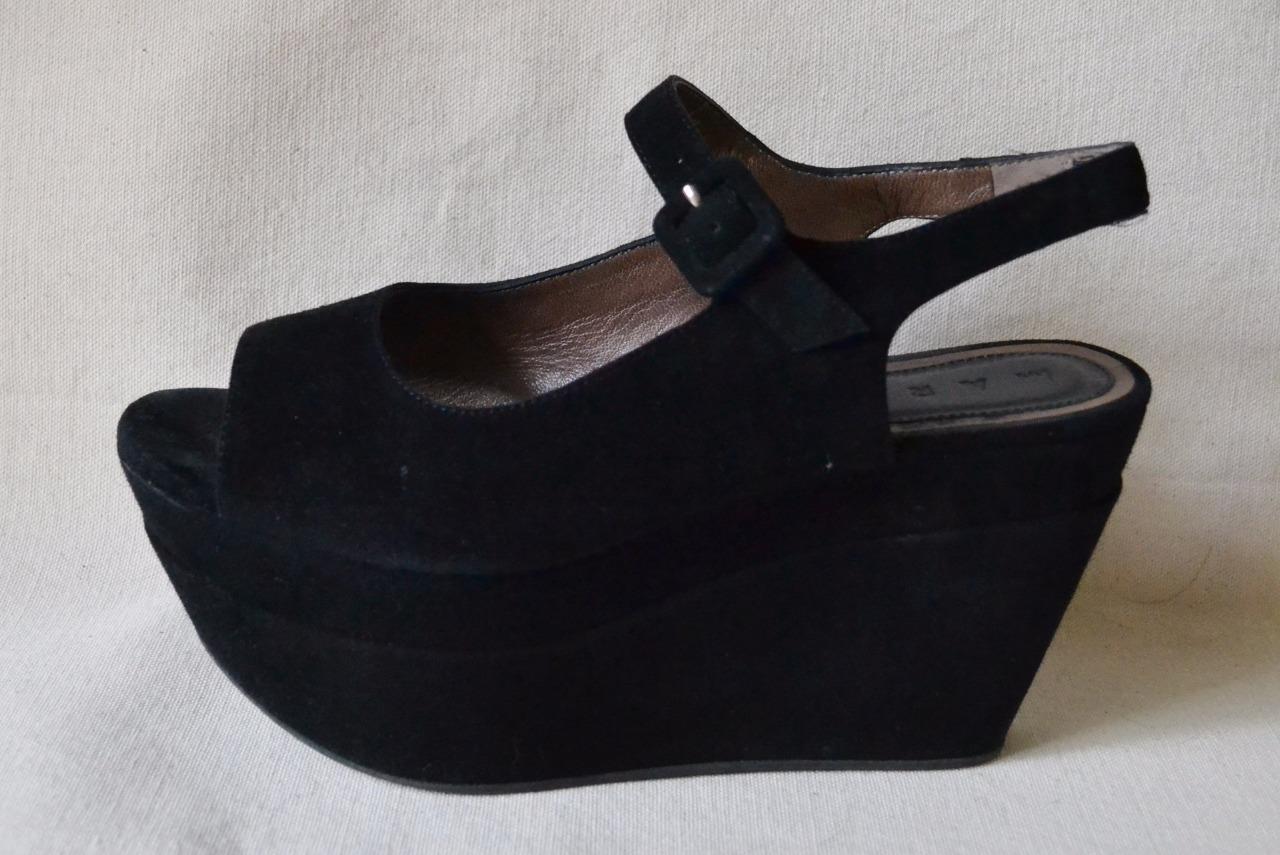 Marni Gamuza Negra Plataforma Punta Abierta Zapatos Zapatos Zapatos Talla 37-US talla 7 al por menor  645  almacén al por mayor