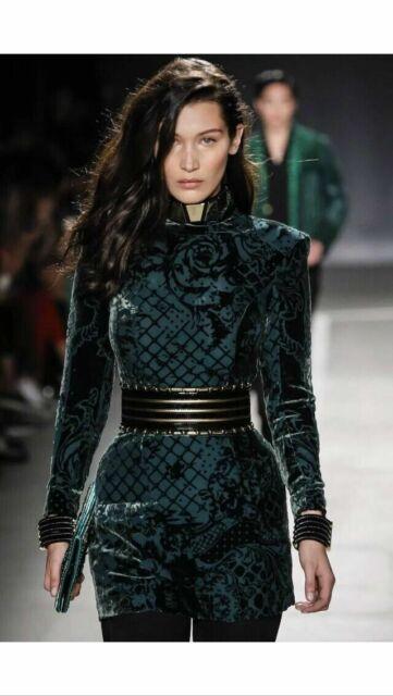 new collection cheaper online for sale BALMAIN X H&M green velvet silk blend dress Eur 34 US 4 UK 8