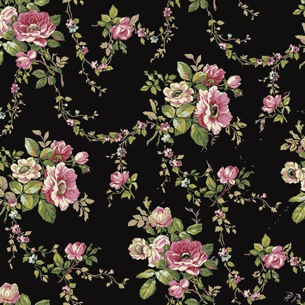 "12""/31cm Wallpaper SAMPLE Victorian Garden on Black AK7402"