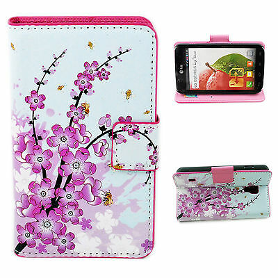 Beautiful Pink Wallet Leather Stand Phone Case Cover For LG Optimus L7 II P715