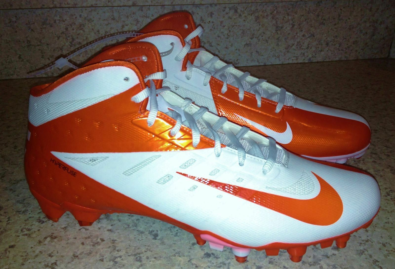 Comfortable and good-looking NIKE Vapor Talon Elite 3/4 Mid Molded Orange White Football Cleats NEW Mens 11.5