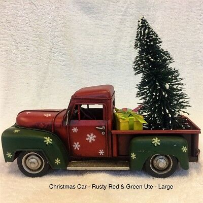 Christmas Car Decorations.34cm Christmas Car Rusty Red And Green Ute Large Decoration Ornament Tin Car Ebay