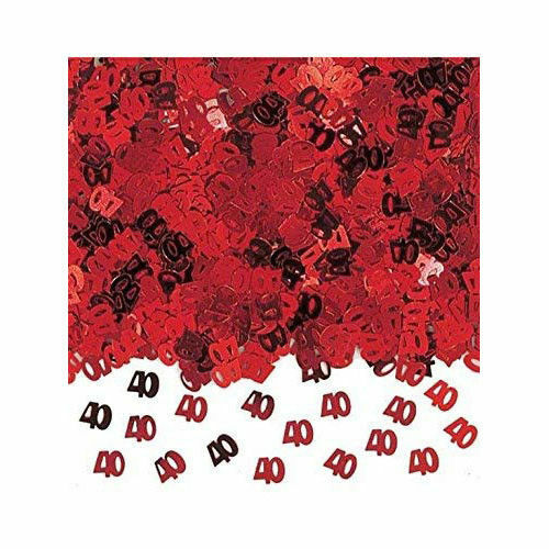 Red Amscan International 40-inch 40th Anniversary Confetti Metallic