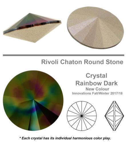 Muchos Colores Y Tamaños Original Swarovski 1122 Rivoli Redonda Cristales Metalizado