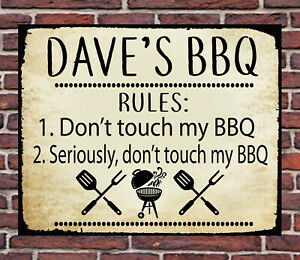 PERSONALISED FUNNY METAL BBQ WALL SIGN GIFT PRESENT DAD FRIEND GARDEN WATERPROOF