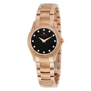 Movado Masino Rose Gold Diamond Ladies Stainless Steel Sapphire Watch 0607076
