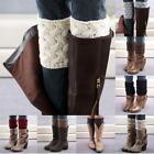 Womens Lady Button Crochet Knit Trim Boot Cuffs Toppers Leg Warmers Winter Socks