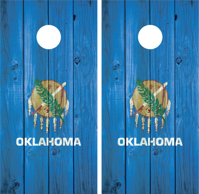 Oklahoma State Flag Distressed Wood Vintage Cornhole Board Decal  Wrap Wraps  on sale 70% off