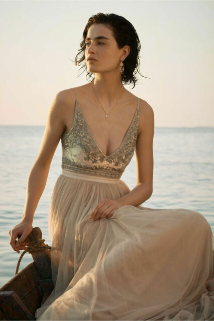 81ba87748cce New Anthropologie BHLDN Brisa Dress NWT beige By Needle and Thread beaded  Sz 12