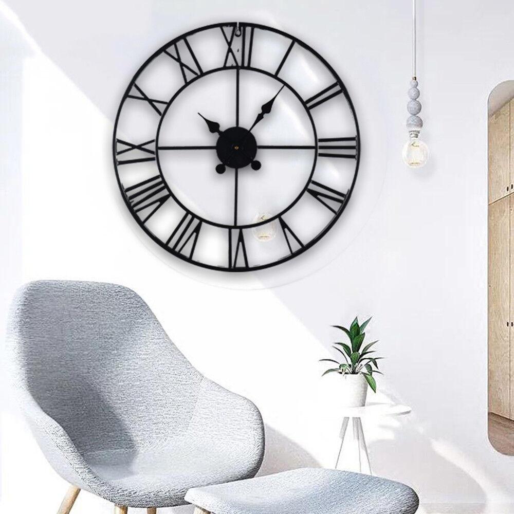 Large Metal Skeleton Roman Numeral Wall Clock Black Round & Square Shape 40/60cm 4