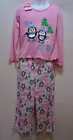 Girls 4 5 Pajamas Penguin Two Piece Pink Glitter Polyester Long Sleeve