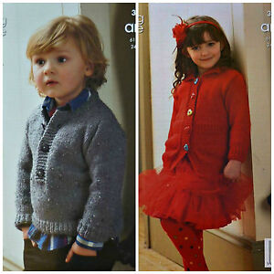 b6a3432d8e7f77 KNITTING PATTERN Boys Button Neck Jumper   Girls Cardigan Aran 3340 ...