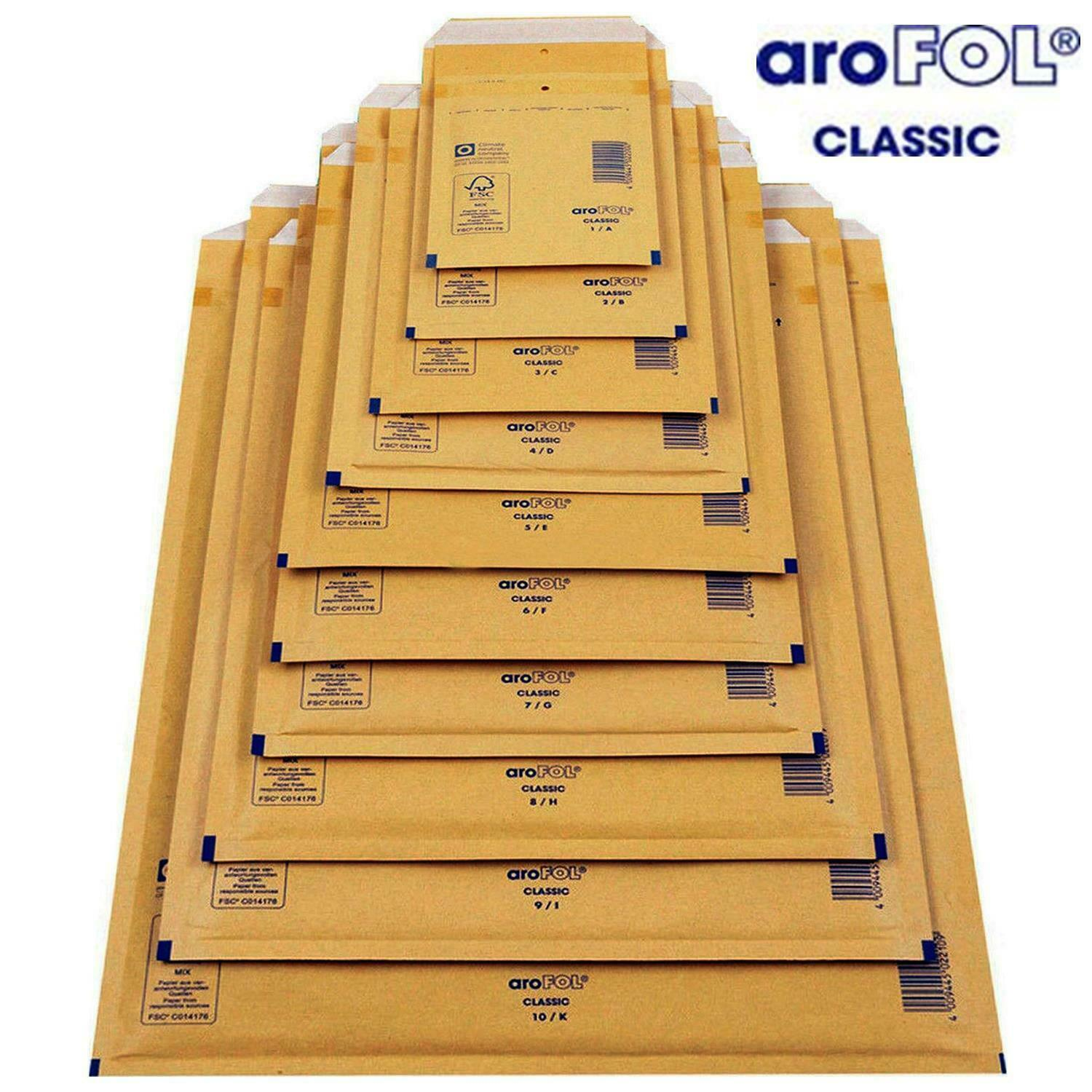 2 /& 3 PACK OF 30 TEN OF EACH SIZE ASSORTED PACK GOLD BROWN PADDED BUBBLE LINED MAILING POSTAL BAGS ENVELOPES BY AROFOL SIZE 1