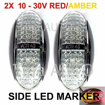 2X Multi-Volt 12V 24V Amber Red Super Bright Side LED Marker ADR E4 truck Lamp