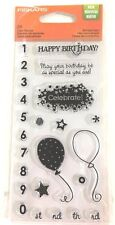CLEAR STAMPS Happy Birthday Sentiments Balloons Numbers Celebrate Stars 24pc Set