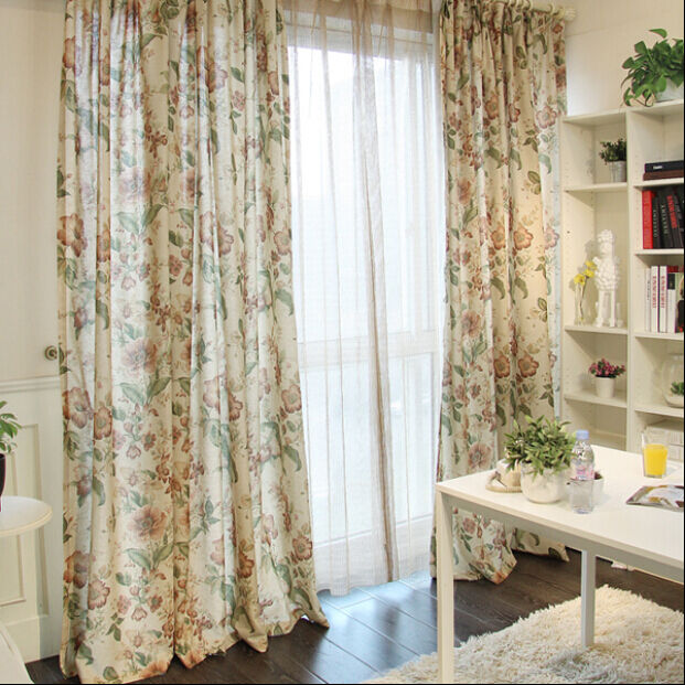 1 PC Elegant French Country Provincial Yellow Flower Window Curtain Cotton Linen