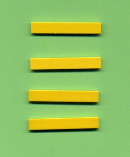 Lego-- 6636 Platte 4 Stück Fliese Kachel Gelb 1 x 6