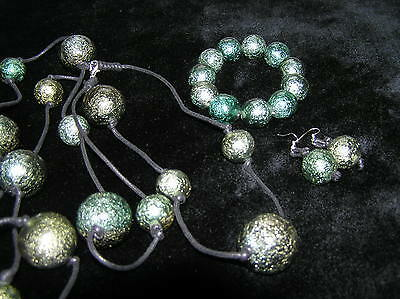 Estate PARURE Large Metallic Plastic Dark Aqua Green Plastic Beads on Black Cord